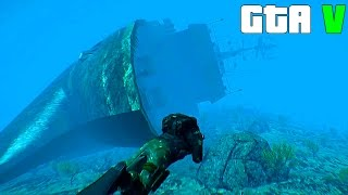Grand Theft Auto V - A huge Sunken Ship - GTA 5 Gameplay