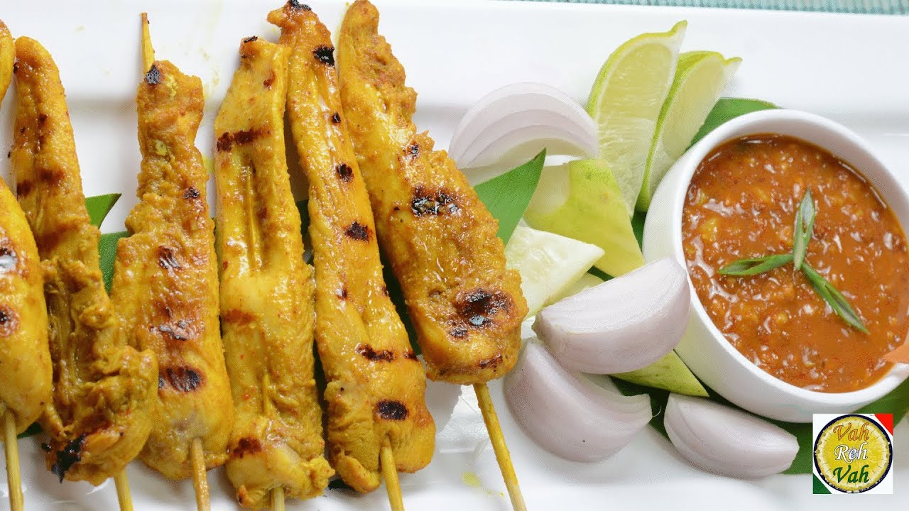 Chicken Satay with Peanut Sauce - By Vahchef @ vahrehvah.com - YouTube