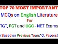 MCQs on English Literature    TOP 70 Most Important Questions For TGT, PGT & UGC-NET