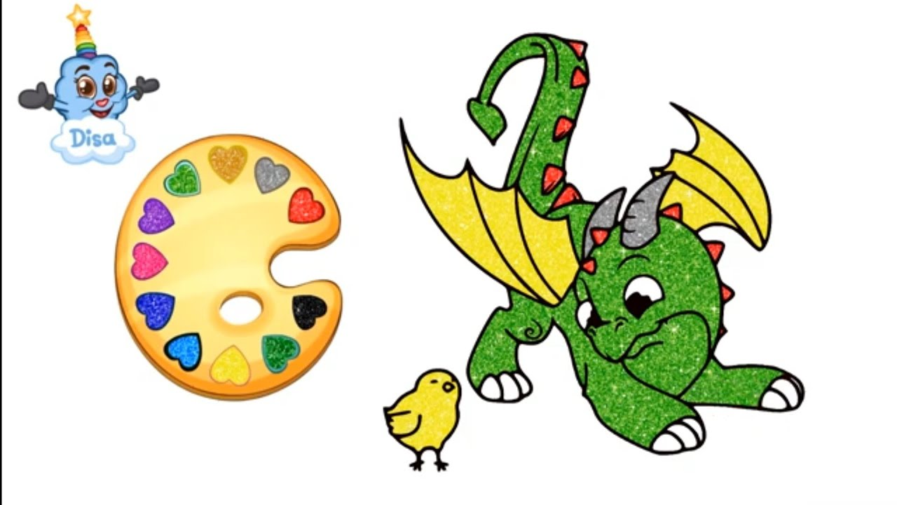 Dragon And A Baby Bird Coloring Pages For Kids Learn Colors And Nursery Rhymes Youtube