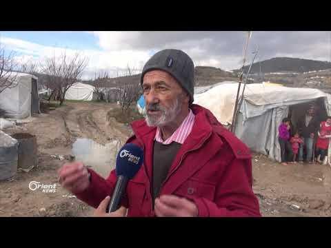 السيول والامطار تغرق خيمِ النازحين بمخيماتِ تجمع خربة الجوز  - 10:21-2018 / 1 / 20