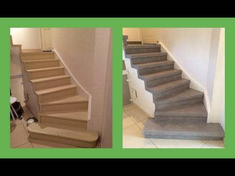 R nover escalier d cor b ton cir youtube for Renovation escalier bois interieur
