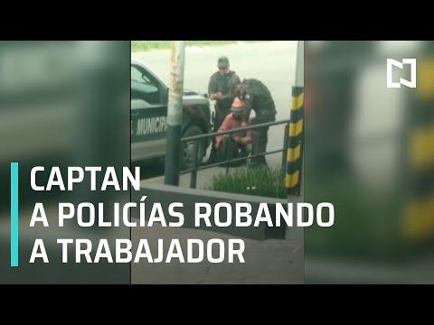 Policías de Tlaquepaque roban a trabajador, quedan captados en video - Las Noticias