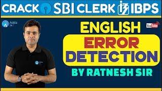 SBI CLERK PRE, IBPS 2018 | Error Detection By Ratnesh Sir | English