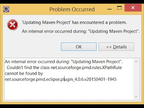 'Updating Maven Project' Has Encountered A Problem. An Internal Error Occurred During: