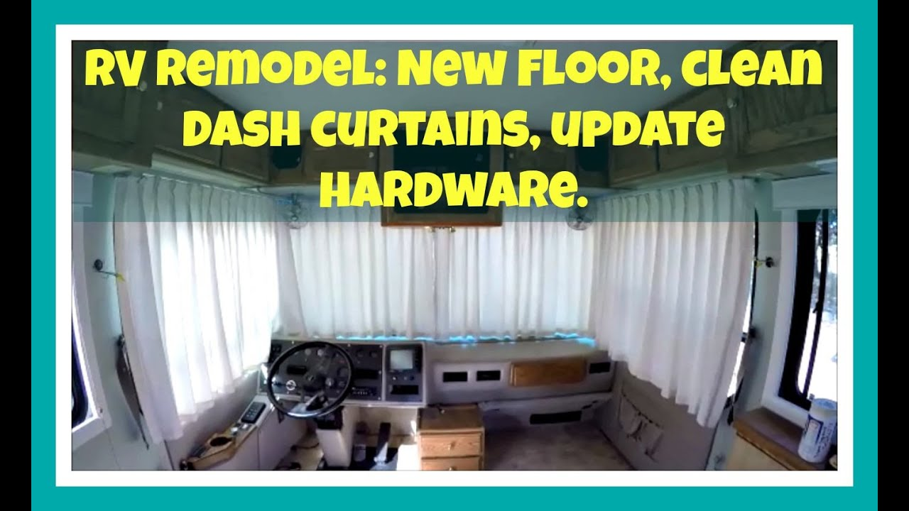 rv remodel:new flooring, clean curtains, cabinet hardware - youtube