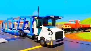 LEGO Semi-trailer Truck and Train Crashes | Brick Rigs