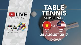 Table Tennis 🏓 Men's Team Semi-Final Vietnam vs 🇲🇾 Malaysia | 29th SEA Games 2017