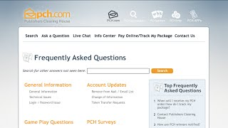 Learn all about the PCH Frequently Asked Questions (FAQ) Site!