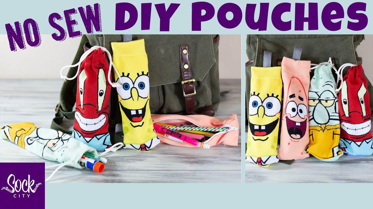 Easy DIY Pencil Case or Make Up Bag | Zippered or Drawstring | No Sew | Fun Sock Creations