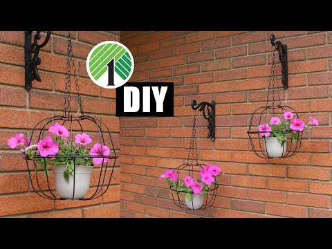 DIY DOLLAR TREE CAGED PLANT HANGERS | Outdoor Home Decor