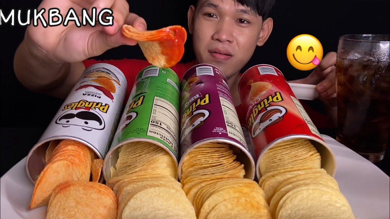 MUKBANG EATING PRINGLES 4 FLAVOURS | MukBang Eating Show