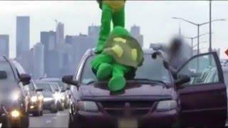 This Actually Happened: Teenage Mutant Ninja Turtles Blocking Off Traffic To Donald Trump Rally