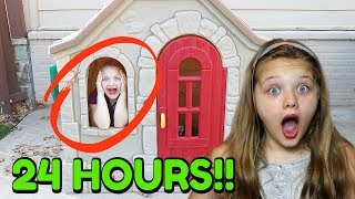 24 HOURS OVERNIGHT In Step2 Playhouse ALONE! 24 Hour Challenge For Kids