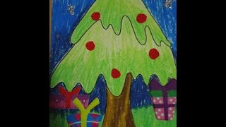 easy drawing for kids,X mas tree drawing and coloring in simple steps