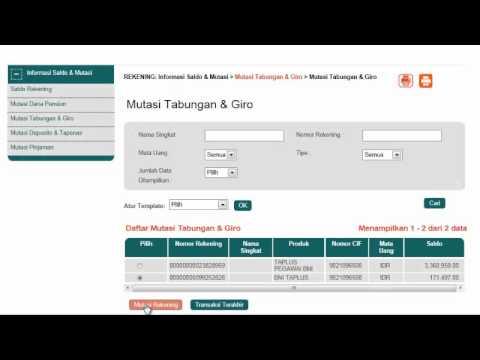 Cara Mutasi Rekening BNI INTERNET BANKING - YouTube