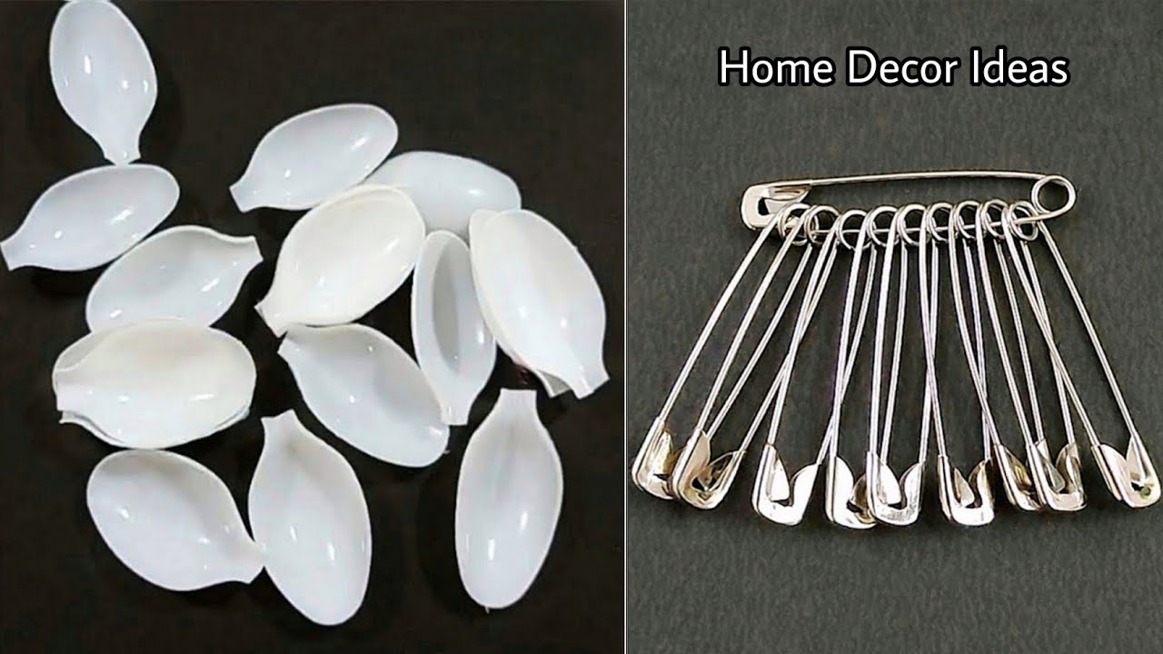 3 Superb Home Decor Ideas using Waste Plastic Spoons and Safety pins - Best out of waste