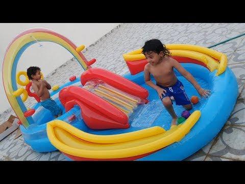 مفآجأة آسر وسامر بمسبح جديد وألعاب مائية Youtube