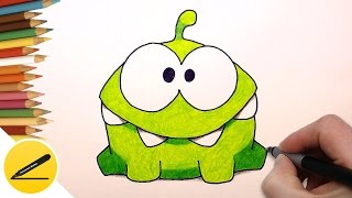 How to Draw Om Nom Step by Step Easy (Cut the Rope) ✔