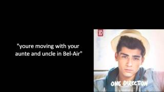 One Direction Rapping Fresh Prince of Bel Air (lyrics (Full version))