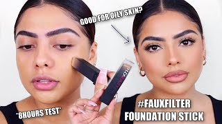 HUDA BEAUTY #FAUXFILTER FOUNDATION STICK REVIEW & FIRST IMPRESSION *8HOURS TEST* | Andrea Roman