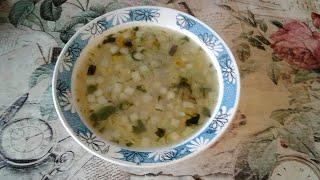 Постный суп с кабачком и рисом