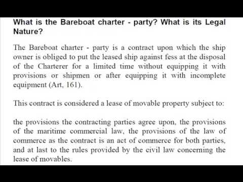 Bare Boat Charter Party Explained