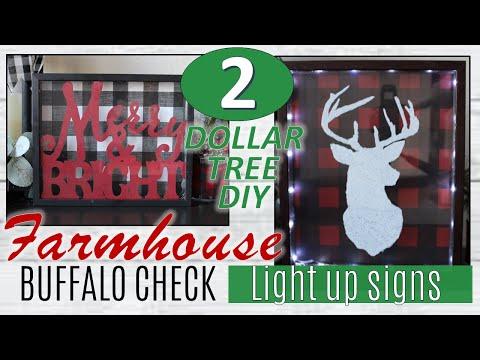 DIY DOLLAR TREE BUFFALO CHECK CHRISTMAS FARMHOUSE CHRISTMAS DECOR PROJECTS