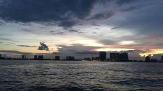 Fort Lauderdale Sunset From Off Shore at Sea in 4k Ultra HD