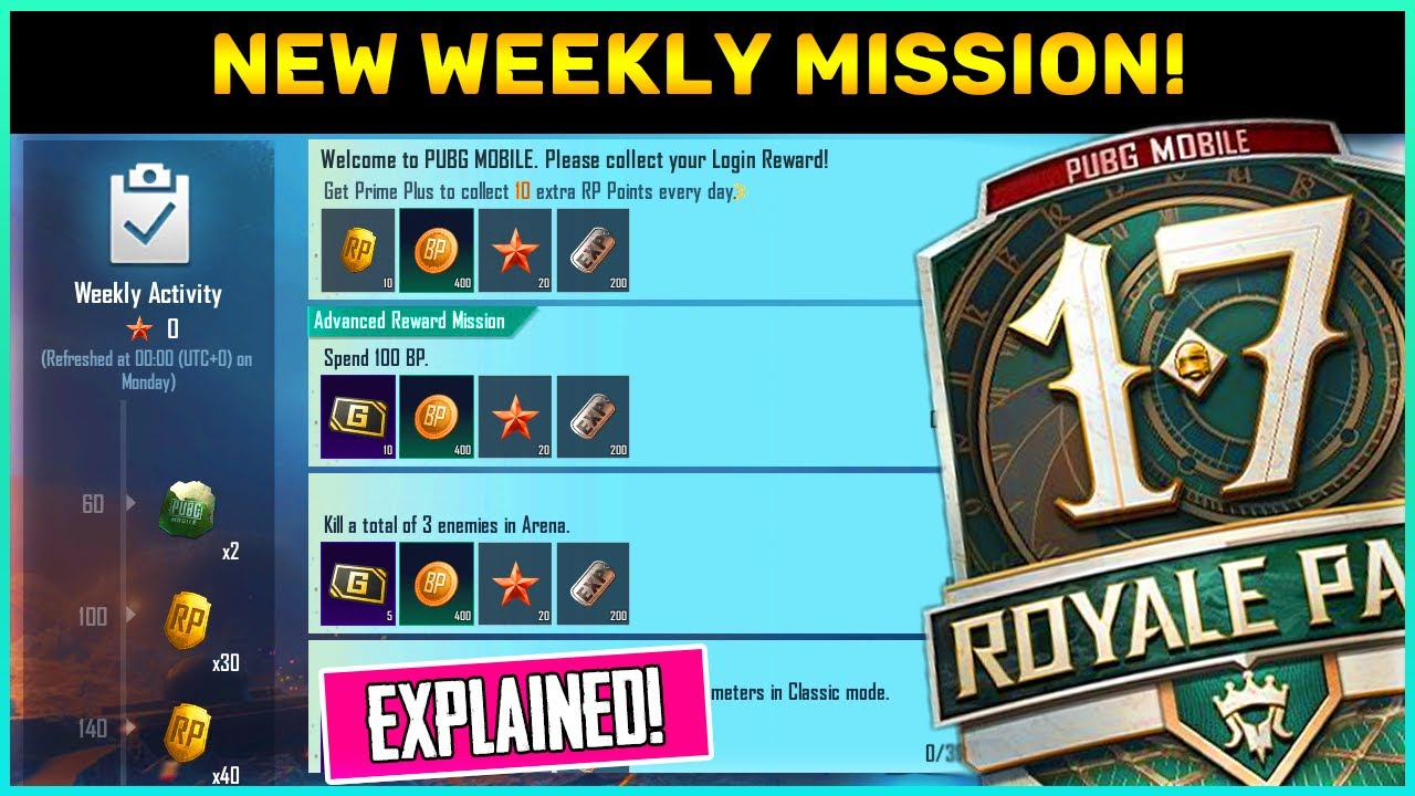 New Weekly Challenge In Pubg Mobile || Daily Missions || Get Season 17 Free Rp Points (Hind)