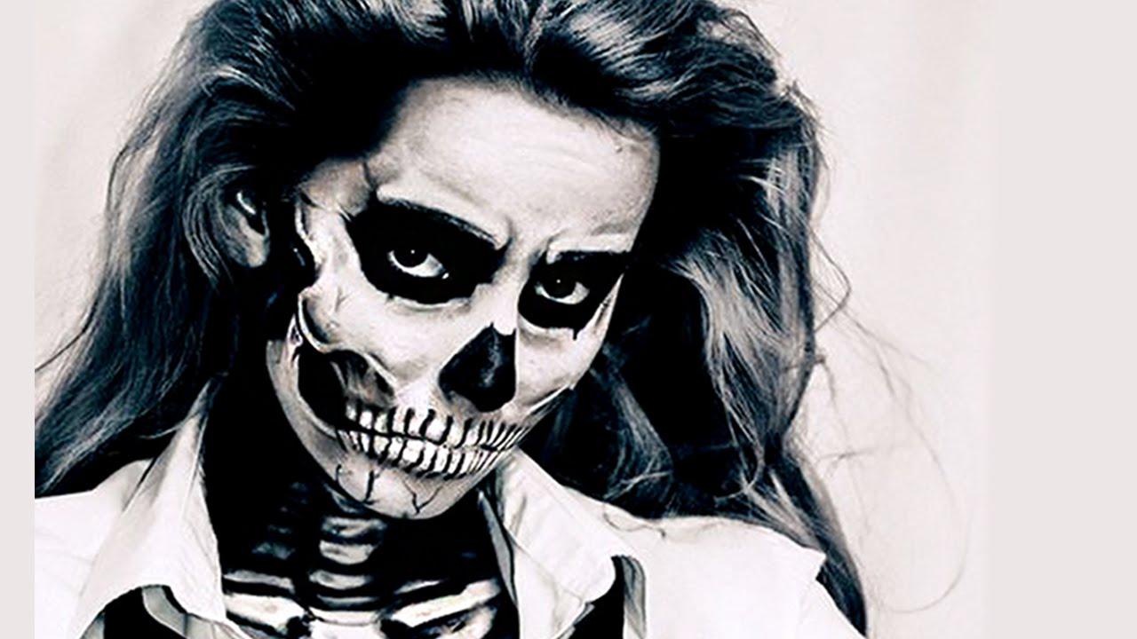 skull makeup czaszka na halloween youtube - Skull Faces Halloween