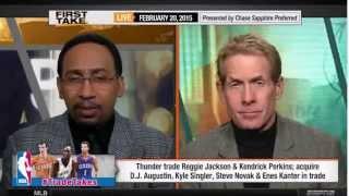 ESPN First Take   Reggie Jackson to Detroit Pistons, Thunder acquire D J  Augustin, Steve Novak