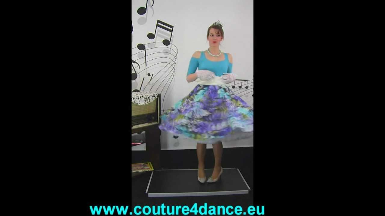 Tellerrock / Circleskirt Fantasia + Shirt Julia,Türkis + Petticoat Sissi, Weiß