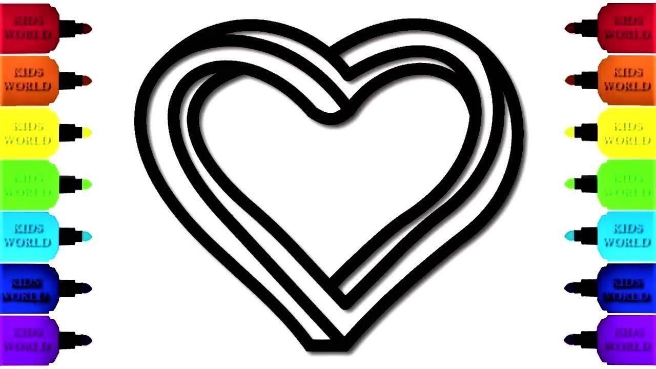 çocuklar Için Burgulu Kalp çizim Ve Boyama Ile Renkleri öğrenme