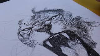 Lion Pointillism Drawing