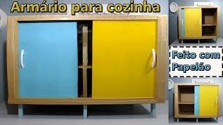 ARMÁRIO DE PAPELÃO PARA COZINHA COM PORTA DE CORRER