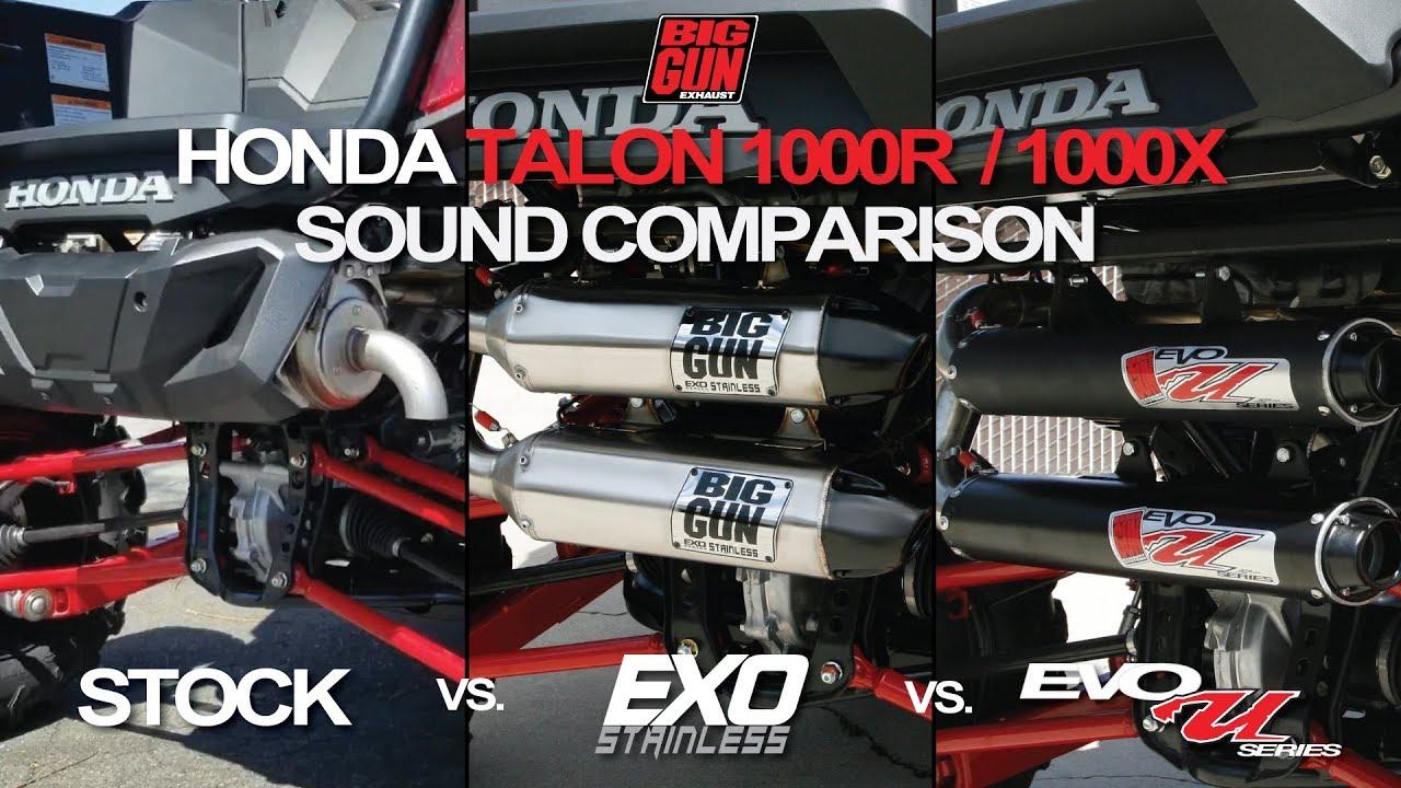 Honda Talon: Stock vs  EXO Stainless vs  EVO U – Big Gun Exhaust