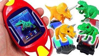 Find dinosaurs! Scan tiny dinosaur and capture car with Dino Mecard Radar! - DuDuPopTOY