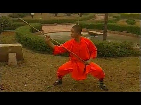 Shaolin kung fu eyebrow-height staff