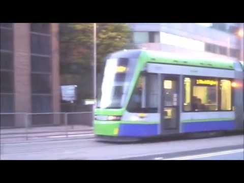 Trams in Croydon at night (Tramlink)