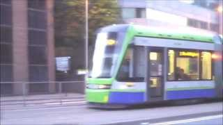 Trams in Croydon at night (Tramlink)