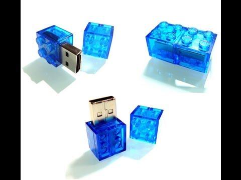 handmade USB Memory Stick goes LEGO® 2x2 Brick transparent blue 2 ...