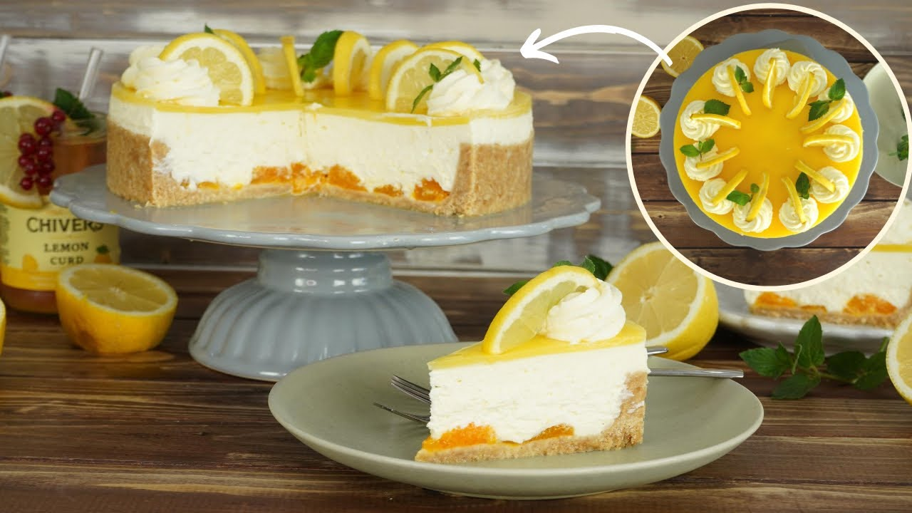 No Bake Lemon Curd Torte Zitronen Cremetorte Ohne Backen Sommerliche Torte Ohne Gelatine Youtube
