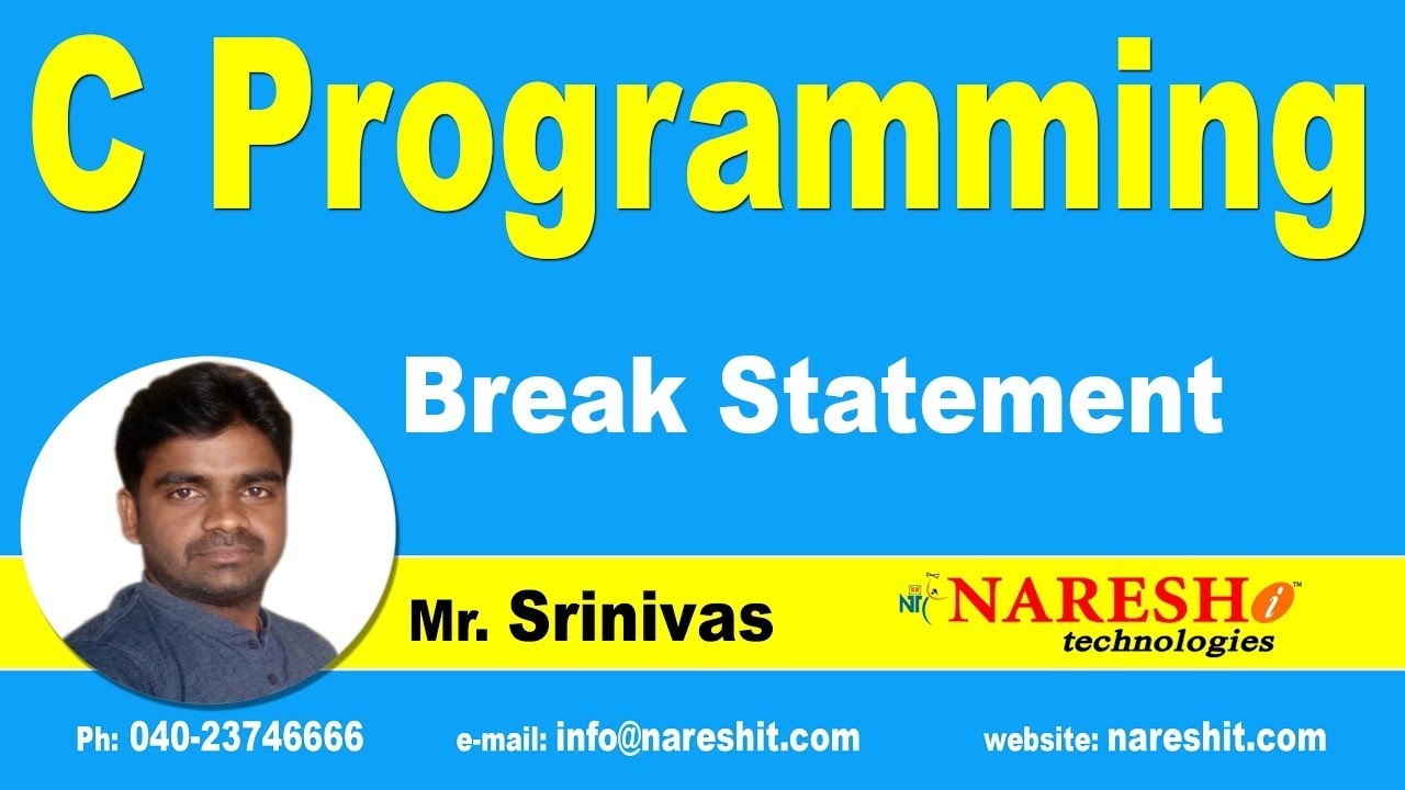 Break Statement in  C | C Language Tutorials | Mr.Srinivas