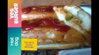 Veg hot dog burger//Hot dog sandwich//vegetables sandwich//Zarah's tasty kitchen