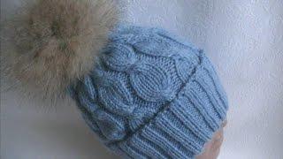 Вязание шапки узором Коса