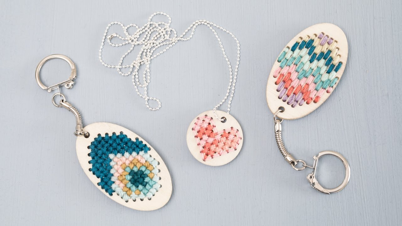 Diy embroidered keychains and jewellery by søstrene