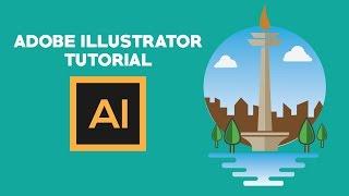 Adobe illustrator Tutorial Flat design Monas indonesia