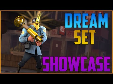 TF2: DREAM SOLDIER SET SHOWCASE! Sunbeams AA + Professional Golden Rocket Launcher! [English][HD]