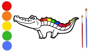 Glitter Rainbow Crocodile coloring and drawing for kids and toddlers | Learn colors | ArtLand